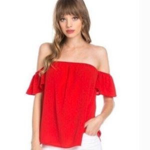 Emetla Off The Shoulder Red Top